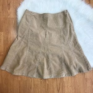Gap Factory 4 Stretch Tan Corduroy Flare Skirt